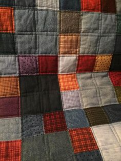 I am thinking thing is what I want to do for the denim and plaid quilt I have in mind. - denim and flannel throw quilt Flannel Quilts, Plaid Quilt, Wool Quilts, Star Quilts, Quilts For Men Patterns, Denim Quilt Patterns, Man Quilt, Crochet Quilt, Shirt Quilt