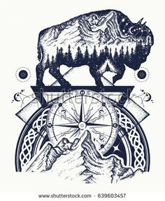 Bison double exposure, mountains, compass, tattoo art. Tourism symbol, adventure, great outdoor. Mountains, compass. Bison buffalo silhouette t-shirt design