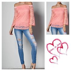 Flower Lace Off-the-Shoulder Top Flower Lace Off-the-Shoulder Top - lined bodice - semi-sheer long sleeves - bell sleeved - fitted - Color is pink - Fit is Small (2-4) Medium (6-8) Large (10-12) in women's size Any questions please ask.  No trades Happy Poshing Tops