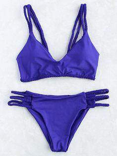 7c43f51f175f1 Blue Braided Strap Ladder Cutout Bikini Set Summer Swimwear, Bikini  Swimwear, Cute Swimsuits,