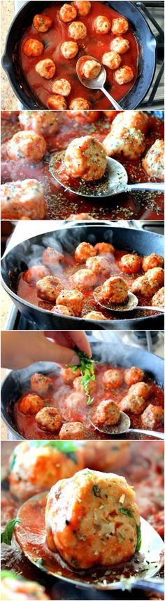 Turkey Meatballs in Spicy Tomato Basil Sauce with Burrata Recipe