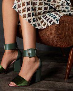 64f3a6be1224e Block heel sandals - Dark Green