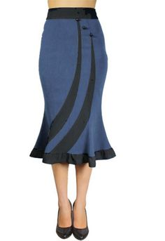 Striped Fitted Flared Skirt by Amber Middaugh --Save 37% at ChicStar.com --Coupon: AMBER37