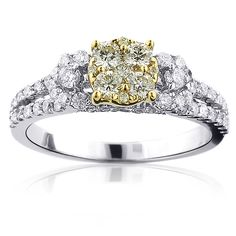 Natural Yellow Diamond Engagement Ring 1.24ct 14K Gold