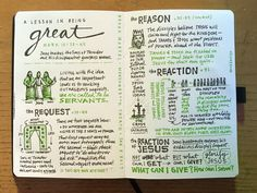 Sketchnote: A Lesson in Being Great from from Mark The Sons of Thunder and the other 10 disciples get a lesson in leadership and service. John One, Visual Note Taking, Sketch Notes, Day Planners, Leadership, Believe, Teaching, Thunder, Sons