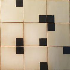 Black and dark grey engobe under clear glaze on handmade tiles. Handmade Tiles, Sinks, Dark Grey, Glaze, Ceramics, Abstract, Artwork, Enamel, Ceramica