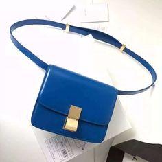 Celine Mini Classic Box Flap Bag In Calfskin Blue     Real Purse b39c94dc84217