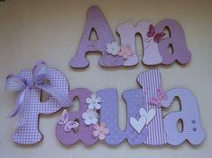 Nome em MDF, decorado em papel de scrap.    Pode ser utilizado para decorar quarto, porta de maternidade e festa infantil.    Fazemos nas cores desejadas R$ 90,00