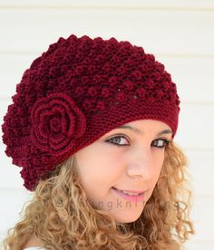 Hand Knitted Hat Burgundy Knit HatSlouchy Hat by SmilingKnitting, $29.00