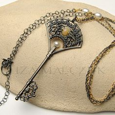 Chambre Etoilee key pendant by Iza Malczyk, silver, opal, gold-filled, pearl