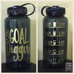 Goal digger motivational water bottle funny by SimpleHappyChaos