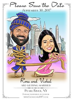 Indian Wedding Caricature Save the Date Cards and Magnets, Wedding Invitations Funny Save The Dates, Save The Date Photos, Wedding Save The Dates, Save The Date Cards, Wedding Cards, Wedding Invitations, Wedding Caricature, Save The Date Magnets, Figurine