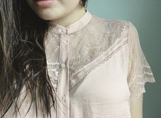 Pretty details on this blush pink lace blouse. My Sweet Genevieve