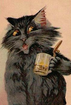 """ WHAT A PITY! ....There's NOTHING In The Kitty?!"" ~c.c.c~ Cat Postcard by Maurice Boulanger"
