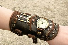 Leather steampunk wristband watches.