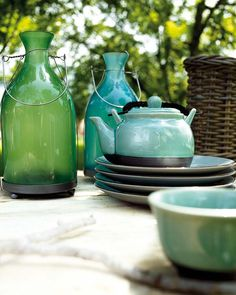 green and turquoise glass and ceramics
