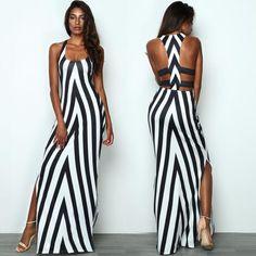 Contrast Color Stripe Low Cut Split Slinky Maxi Dress is part of Dresses - Classy Dress, Classy Outfits, Sexy Outfits, Sexy Dresses, Cute Dresses, Dress Outfits, Casual Dresses, Fashion Outfits, Trendy Outfits