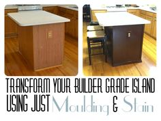 Little Brick Home: Budget Kitchen Renovation: Upgrade Builder Grade Island with Moulding and Stain