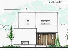 スクエアモダンな回遊性のある間取り Architecture Drawings, Architecture Plan, Interior Architecture, Interior And Exterior, Modern Minimalist House, Live In Style, House Elevation, Planer, Townhouse