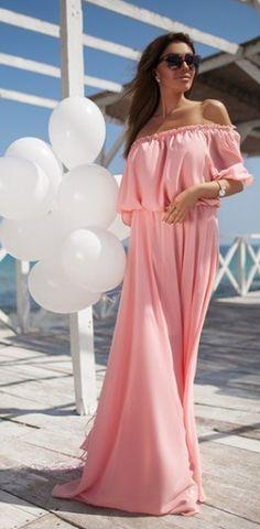 Off Shoulder Short Sleeves High-waist Floor-length Long Dress