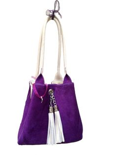 The Famke cream leather purple suede  This beautiful reversible bag is made  in Italy 0f4a6760ee162