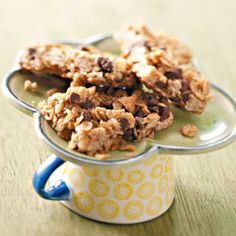 Peanut Butter Granola Mini Bars: 3 dozen; 1 piece = 93 calories, 4 g fat; Diabetic Exchanges:  1 starch, 1 fat
