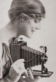 Girl with Kodak camera ~ 1910