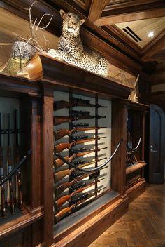 Hidden Gun Storage, Weapon Storage, Key Storage, Gun Safe Room, Home Office Design, House Design, Gun Vault, Vault Doors, Gun Rooms