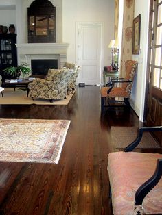 Jonni Vermeulen's River Recovered Antique Heart Pine flooring with a dark walnut stain.