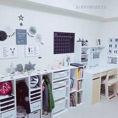 MallonSnowさんの、素敵なお家作りを目指して,子ども部屋,子ども部屋 男の子,学習机,IKEA,ダイソー,セリア,キャンドゥ,ニトリ,カラーボックス,ロッカー,キッズロッカー,モノトーン,ホワイト化,リニューアル,模様替え,部屋全体,のお部屋写真