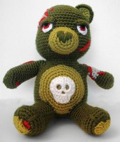 Amigurumi Zombie Bear - Even though I know he'd try to eat my brain, I'd still hug him.
