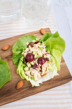 Almond Butter Chicken Salad -- perfect for serving in lettuce wraps or on your favorite sandwich bread.