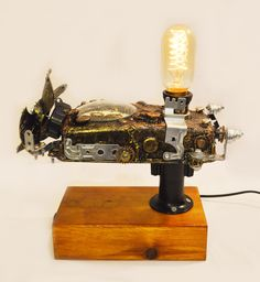 Beautiful 10 Amazing Steampunk Desk Lamps  #Best #Edison #Glass #Handmade #Industrial #LED #LightFixture #Metal #Steampunk #Top #Vintage 1 - Functional Art Steampunk Desk Lamp  Buy If you are looking for a unique, impossible to duplicate piece of functional art, then look no further!...
