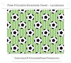 Landscape Pistachio Green Striped Large  Soccer Ball Pattern Paper