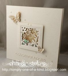 This card uses a floral die which came in the pack from Sizzix with my Big Shot Plus. I made the frame with a couple of stitched dies from Simon Says Stamp and accompanied it with a couple of butterflies from Poppy Stamps. The coloured card was made with the squished flower technique and has been sitting in the drawer since last season. The Congratulations is from Tattered Lace. (4.25.16)
