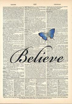 Believe #vintage #art #dictionary #vintagedictionaryart #antique #antiquebookart #prints #vintageprints #antiqueprints