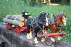 Breyer Clydesdale Team Work Horses Folk Art Logging Sleigh Sled OOAK Rare Vtg