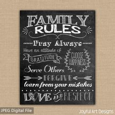 Chalkboard Family Rules - The perfect meaningful decor for your house. Makes a great house warming gift or wedding gift! ***This product is a