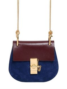 Chloé mini Drew suede and nappa leather bag