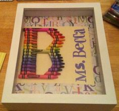 Items similar to Framed Crayon Monogram on Etsy Crayon Monogram, Principal Gifts, Student Teacher Gifts, Preschool Arts And Crafts, Goodbye Gifts, Volunteer Gifts, Diy School Supplies, Diy Crafts For Gifts, School Gifts