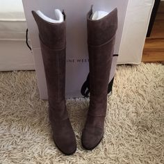 """BOGO 50%Nine West Grey SU The knee Boot Love this boot!!!! Per-Owned great condition! Worn no more then 5 times! Shaft measures approximately 17"""" from arch Leather Almond toe Shaft height: 17"""" Back zipper closure Heel height: 2"""".    $199+ tax Nine West Shoes Over the Knee Boots"""