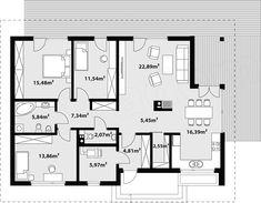 Rzut parteru projektu Endo drewniany House Plans, Floor Plans, How To Plan, Home Plans, House, House Floor Plans, Floor Plan Drawing