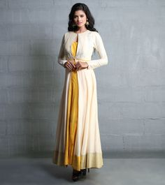 Beige And Yellow Silk Jacket With Aari Work Kurta Designs, Blouse Designs, Indian Look, Indian Ethnic Wear, Pakistani Outfits, Indian Outfits, Ethnic Fashion, Indian Fashion, Women's Fashion