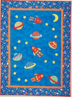 Baby quilts on pinterest space race quilt patterns and for Space baby fabric