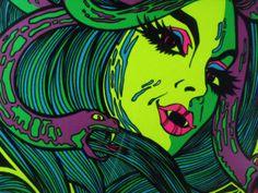 Trippy Blacklight Posters | Vintage Blacklight Poster 1976 Medusa Psychedelic Original Rare