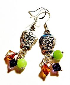 Handmade Sugar Skull Earrings OE058 Halloween  Day of the Dead