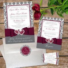 This stylish and modern charcoal grey and white damask pattern wedding invitation has a boldly colored printed on ribbon and bow in a deep burgundy wine color across the bottom of the invitation. A romantic pair of printed on double joined hearts with jew Fancy Wedding Invitations, Wedding Wording, Wedding Invitation Suite, Invites, Simple Wedding Decorations, Wedding Themes, Wedding Ideas, Christmas Decorations, Wedding Inspiration