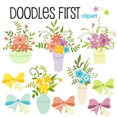 This clipart set includes the 10 following elements.      5 x Flower Bouquet 5 x Ribbon with Gift tag      Each clipart illustration is included separately as a high resolution PNG file with a transparent background and also as a JPG with a white background    Each object is provided at a sizes of 5.5 Inches on its longest side. The PNG makes it versatile to scale for any project.    No watermarks will appear on purchased items.    The purchased clip art that will be provided is much higher…