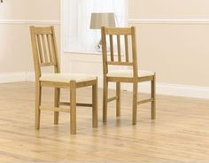 Promo Solid Oak Dining Chair with Cream PU Seat (Pair)