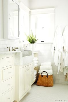 white bathroom with green plant